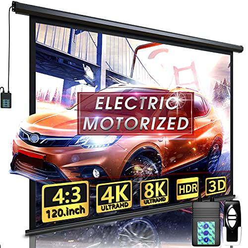 """Aoxun 120"""" Motorized Projector Screen - Indoor and Outdoor Movies Screen 120 inch Electric 4:3 Projector Screen W/Remote Control"""
