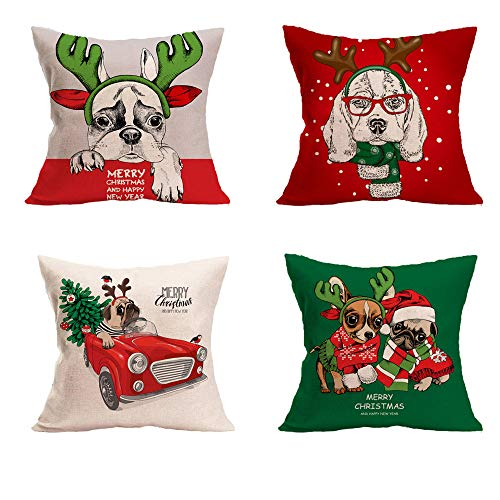 ORANGEHOME 4PCS Christmas Pillow Covers Set, Cushion Covers Cover,Xmas Series Cartoons Pattern Cotton Linen Decorative Throw Pillow Covers Pillow Cases for Sofa(18 by 18 Inches)
