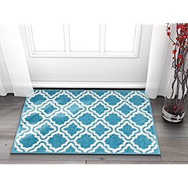 Well Woven Small Rug Mat Doormat Modern Kids Room Kitchen Rug Calipso Blue 1'8  x 2'7  Lattice Trellis Accent Area Rug Entry Way Bright Carpet Bathroom Soft Durable
