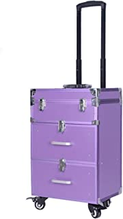 Purple Nail Box Cosmetic Case Double Drawer Large Capacity Toolbox