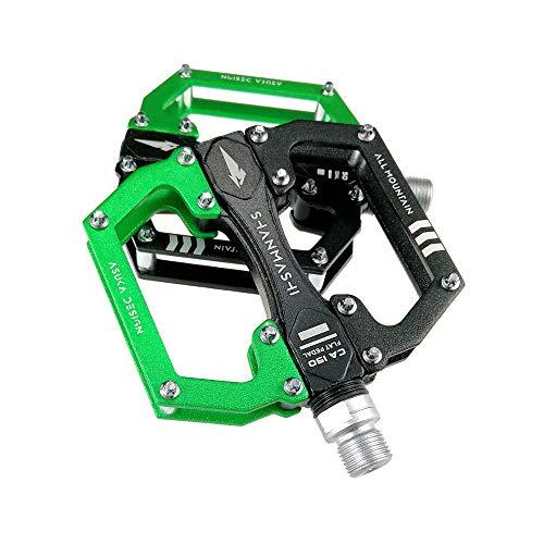 XJLJ Fahrradpedale Mountain Bike Pedal 1 Paar Aluminium-Legierung Antiskid Durable Fahrradpedale Oberfläche for Straßen BMX MTB Bike 4 Farben (SMS-CA150) MTB Pedal rutschfeste Pedale (Color : Green)