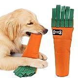 Juguetes para masticar perros duraderos Juguete de entrenamiento IQ Juguete para perros Zanahoria Juguete para perros lleno de sonido Cubierta de tela reciclable Limpieza de dientes fuerte y libre