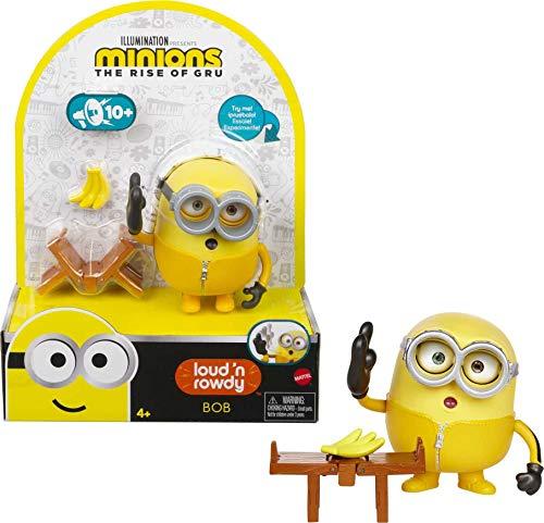 Minions GMF05 - ,,Minions: Auf der Suche nach dem Mini-Boss' Loud N' Rowdy Bob, sprechende Actionfigur mit Bank, Filmfigur-Spielzeug für Kinder ab 4 Jahren