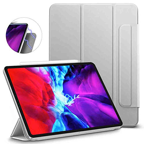 ESR Rebound Magnetic Smart Case for iPad Pro 12.9' 2020/2018, Convenient Magnetic Attachment, Auto Sleep/Wake Trifold Stand Case - Silver Grey