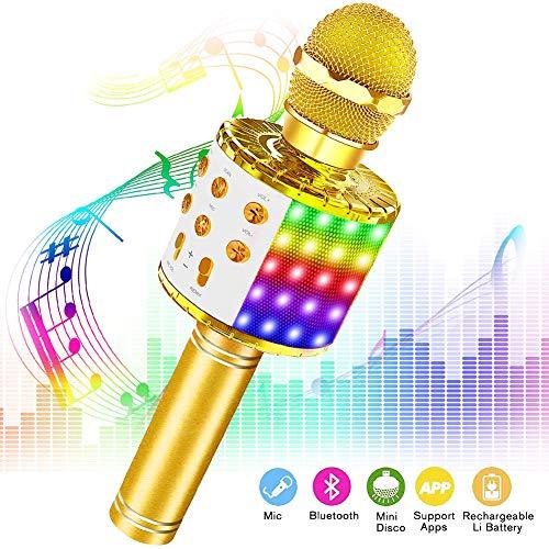 Phiraggit Karaokemicrofoon, bluetooth, draagbare draadloze microfoon, stereo-speler, multifunctioneel, dynamische microfoon met luidspreker voor muziek spelen, KTV/party, compatibel met Android/iOs/pc laptop