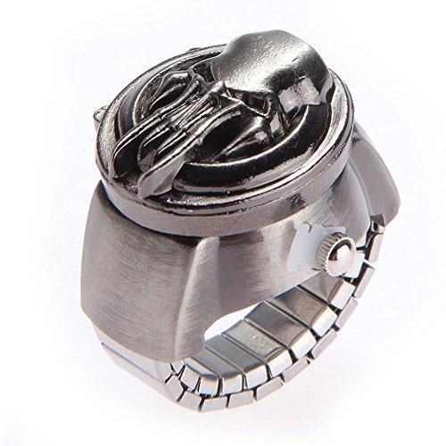Ecloud Shop® 25mm El Anillo de Dedo Retro de Bronce Antiguo Pirata Clamshell Metal elástico Reloj