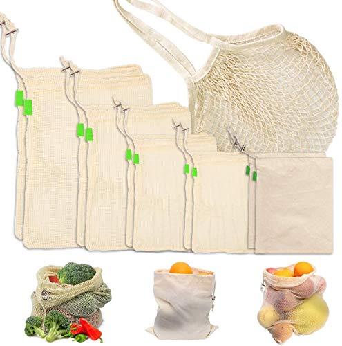 Orthland 11er Set Wiederverwendbare Obst- und Gemüsebeutel, Mehrweg Bio Baumwolle Gemüse Beutel Gemüsenetz Obstbeutel Brotbeutel Aufbewahrungstasche Einkaufsbeutel für Plastikfreies Leben