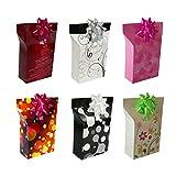 Trendfinding Geschenkbox mit Rosette Geschenkpapier Geschenk Kartonage Schachtel Box Geschenkverpackung (Mix, 6)