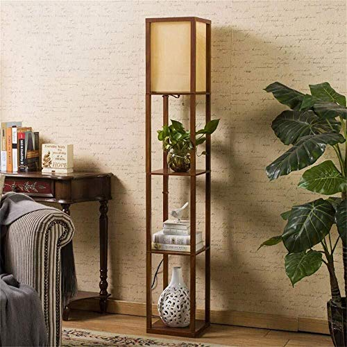 MOZUSA Nordeuropa Bodenleuchten, die chinesischen Moderne Minimalist kreativ Retro Holzbodenleuchten for Wohnzimmer Schlafzimmer Der Vertikal Lampe Lichtquelle (Color : Walnut Color)