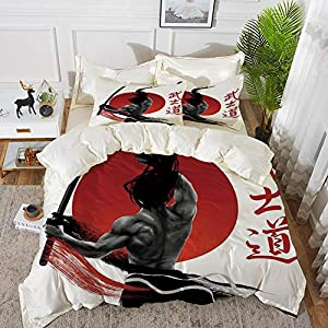 Bedding Juego de Funda de Edredón - Japonés, Samurai en la práctica con músculos Katana Japonés Sol Asi/Microfibra Funda de Nórdico y Fundas de Almohada - (Cama 150 x 200cm + Almohada 63X63cm)