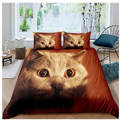 BAIYANG Adult Kids Duvet Cover Set Cartoon Animal Cat 2/3Pcs Bedding Sets King Size Single Full Double Bed Linen 3D Printed King(230x220cm)