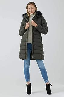 Kadın Kürk Kapüşonlu Uzun Mont - Haki