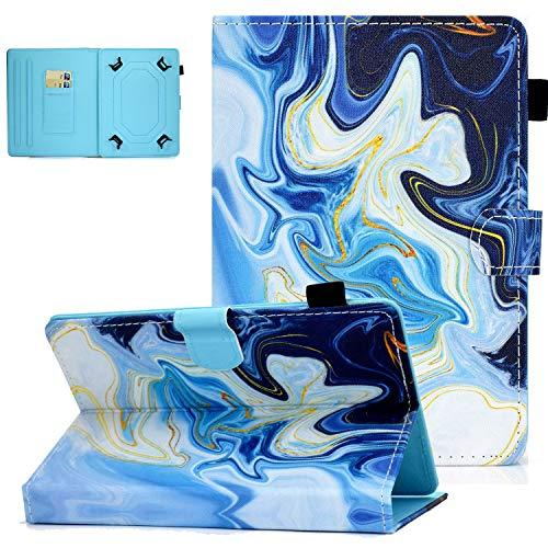UGOcase Universal Case for 7.0 Inch Tablet, PU Leather Multi-Angle Stand Magnetic Cover with Card Slots for Galaxy Tab E 7.0/ Tab A 7.0/ Fire 7.0 2019 and More 6.5-7.5 inch Tablet - Blue Marble