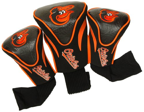 Team Golf MLB Baltimore Orioles Contour Golf Club Headcovers (3 Count), Numbered 1, 3, & X, Fits Oversized Drivers, Utility, Rescue & Fairway Clubs, Velour lined for Extra Club Protection