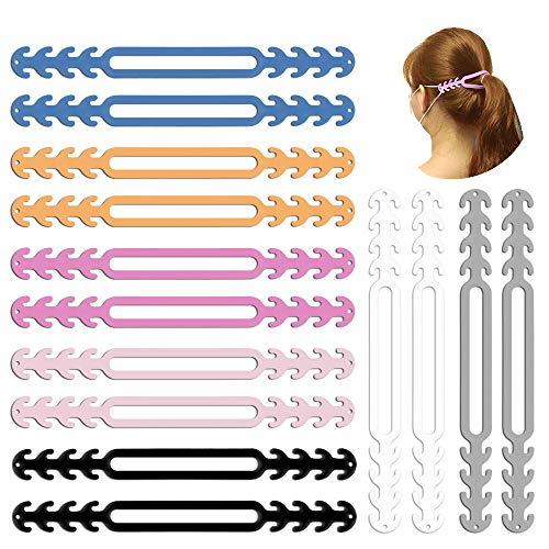 14 unids Muti-color correa de la cara gancho de la cola de caballo pasable correa de oreja gancho ajustable antideslizante agarre banda extensor protector de oído para niñas, mujeres, adultos