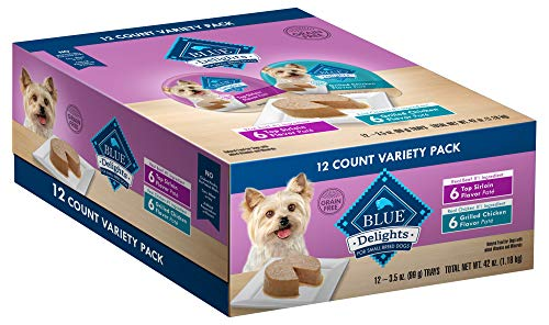 Blue Buffalo Delights Natural Adult Small Breed Wet Dog Food Cups Variety Pack, Top Sirloin Flavor in Savory Juice and Grilled Chicken Flavor in Savory Juice 3.5-oz (12 Pack- 6 of each flavor)
