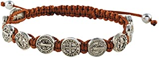 CB Saint St Benedict Medal on Adjustable Cord Bracelet, 8 Inch