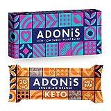 Adonis Low Sugar Nut Bar - Barritas de chocolate y naranja | 100% Natural, Baja en Carbohidratos, Sin Gluten, Vegano, Paleo, Keto (Box of 6)