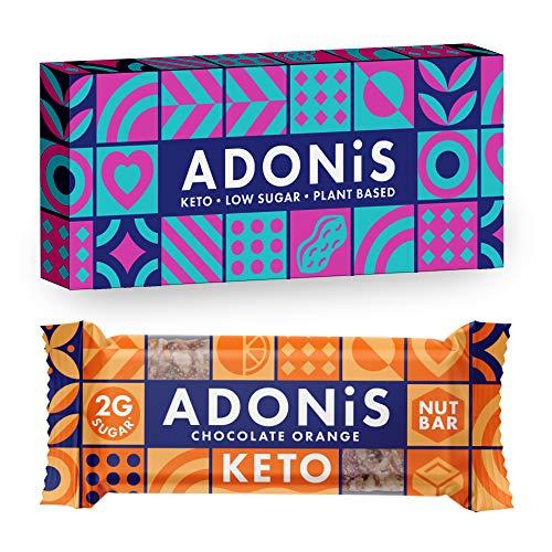 Adonis KETO Nut Bars - Barrette croccanti a basso contenuto di zucchero con cioccolato e arancia   100% naturale, a basso contenuto di carboidrati, senza glutine, vegano, paleo (Box of 6)