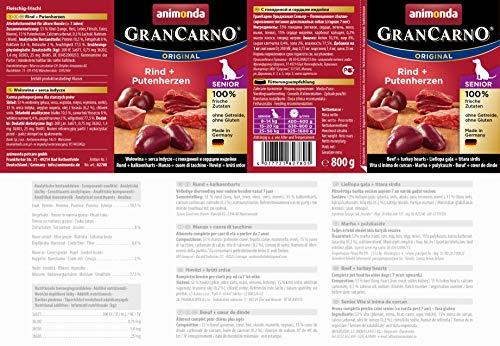 Animonda GranCarno Hundefutter Senior, Nassfutter für ältere Hunde ab 7 Jahren, aus  Rind und Putenherzen, 6er Pack (6 x 800g) - 2