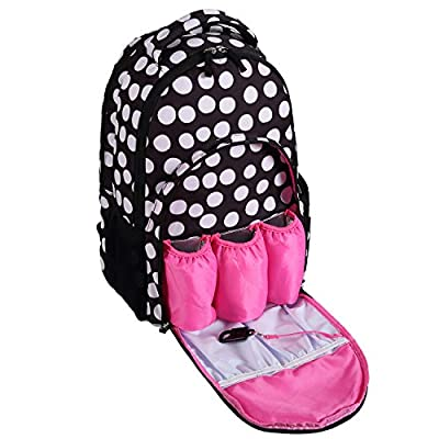 Lalawow Multifunctional Pretty Baby Diaper Nappy Bag Backpack Mummy Bag with Insulated 3 Bottle Pocket-Eco friendly