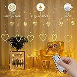 Rideau Lumineux LED, 2.5m*1m Rideau Lumière, Décoration de La Saint-Valentin/Mariage, Extérieur/Intérieur IP65, 12 Cœurs et Crochets, 8 Modes, Minuteur et Télécommande, 31V