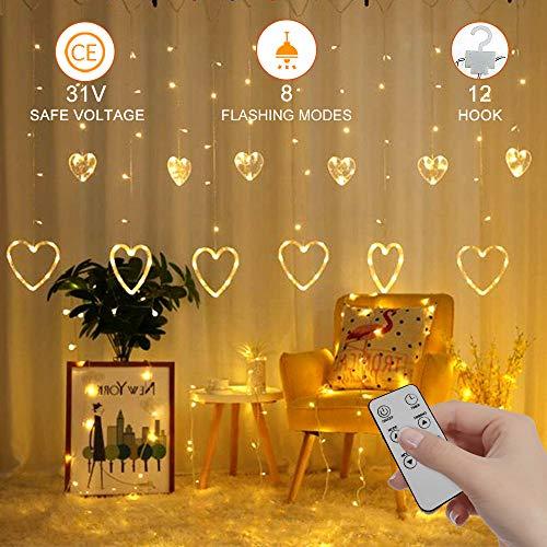 LED Lichtervorhang Außen/Indoor IP65 8 Modi 2.5M-1M, Timer-Funktion mit Fernbedienung, 12 Haken, hausdeco, Hochzeit, Valentinstag, Abend, Niedrige Spannung 31V (#4 Warmes Weiß)
