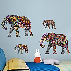 ufengke 4 Pattern Elephants Wall Decals, Living Room Bedroom Removable Wall Stickers Murals