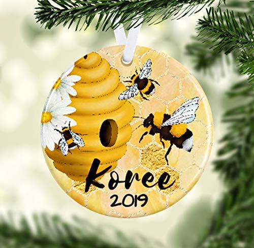 Dkisee Bee Ornament, Gepersonaliseerde Bijen Ornament, Honing Bee Gift, Bijen Kerst Ornament, Bijen Home Decor, Bijen Hive Cadeau voor Bee Lover, Insect Ornament 3.1 inch