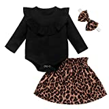 Neugeborene Baby Mädchen Leopard Outfit Rüschen Langarm Bodysuit + Tutu Rock + Haarband Prinzessin Kleid 3Pcs Set (12-18 Monate, Schwarz)