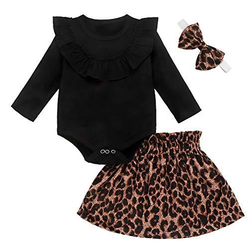 Neugeborene Baby Mädchen Leopard Outfit Rüschen Langarm Bodysuit + Tutu Rock + Haarband Prinzessin Kleid 3Pcs Set (0-6 Monate, Schwarz)