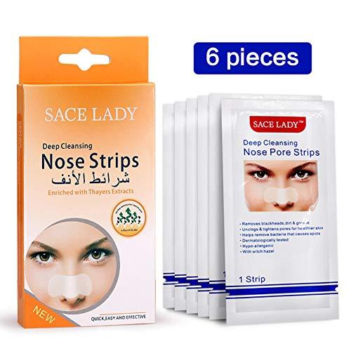 Allbesta - Máscara para eliminar puntos negros de la nariz, 6 unidades, limpieza profunda, tiras de purificación, pegatinas de poros faciales, cuidado facial de la piel