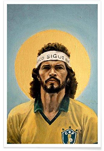 """JUNIQE® Fußball Sportler & Sportlerinnen Poster 30x45cm - Design """"Football Icon - Sócrates"""" entworfen von David Diehl"""