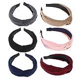 Frcolor 6 piezas de ancho bandas para la cabeza nudos turbante diademas para mujeres niñas (rojo vino + gris oscuro + azul marino + negro + color caqui + rosa)