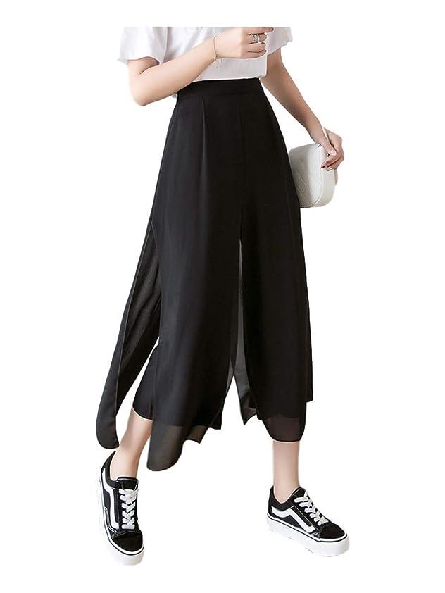 溝振りかける骨の折れる[サン ブローゼ] シースルー ドレープ パンツ スカート 風 ゆったり 体型カバー 春 夏 M ~ XL レディース