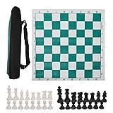Eddwiin International Chess Set Ajedrez de Viaje portátil para Exteriores Enrollable en Tubo de Transporte con Bolsa Grande y Correa para el Hombro fácil de Llevar para Principiantes y niños(45CM)