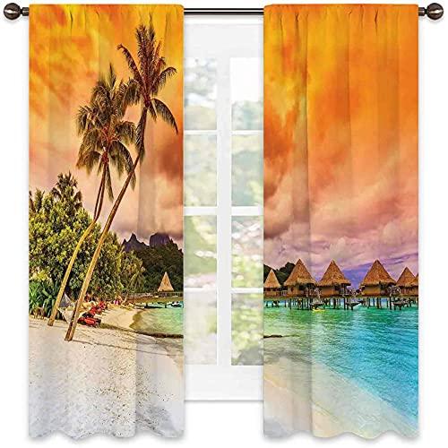 Playa ahorro de energía y reducción de ruido, playa de montaña y palmeras, nubes doradas al atardecer vista romántica, pantalla insonorizada W72 x L84 pulgadas naranja turquesa marfil