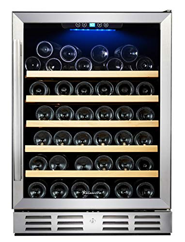 Kalamera 24'' Wine Cooler 54 Bottle Single Zone Touch Control Built-in with Tempered Glass Door and Temperature Memory Function