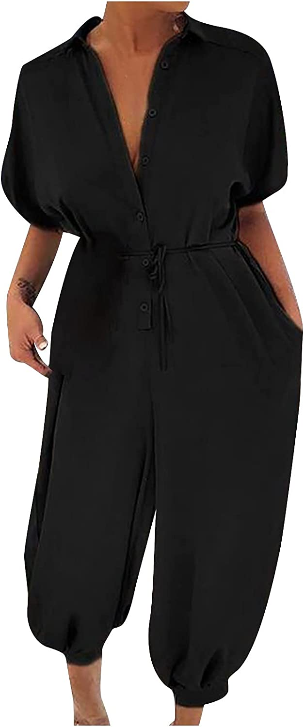 Women's One Piece Button Up Jumpsuit Casual Loose Belt Short Sleeve Onesies Rompers with Pockets