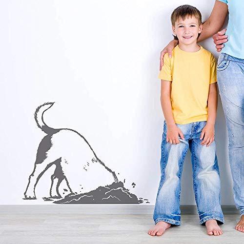 Divertido perro cavando cachorros perro animal pegatinas de pared de vinilo   Decoración del hogar para niños Sala de estar Dormitorio Decoración de ventanas y aula