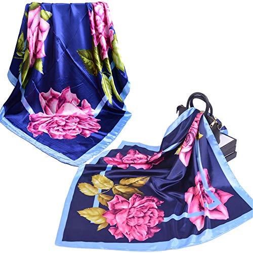 DHHY Seidenschal Mit Blumenmuster Für Frauen, Großer Quadratischer Schal, Seidenimitatschal