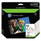 HP 02   6 Ink Cartridges with Photo Paper   Black, Cyan, Magenta, Yellow, Light Cyan, Light Magenta   Q7964AN