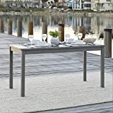Walker Edison Dominica Contemporary Slatted Outdoor Dining Table, 34 Inch, Grey Wash