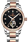 CARNIVAL Womens Skeleton Automatic Mechanical Synthetic Sapphire Crystal Rose Gold Stainless Steel Lady Sapphire Waterproof White Watch (Rose Gold/Balck face)