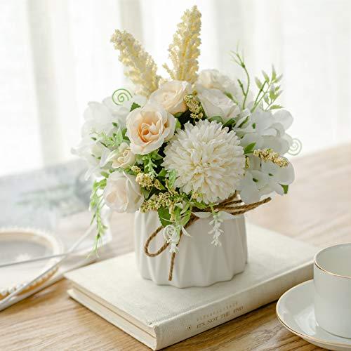 Cuisit Hortensien Kunstblumen im Topf Künstliche Blumen mit Keramikvase Seidenblumen Rosen Blumenstrauß Künstlich mit Vase für Hochzeit, Büro, Tisch, Fenster, Wohnzimmer, Schlafzimmer, Party (Weiß)