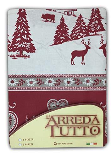Tex family Telo COPRITUTTO Gran Foulard COPRILETTO COPRIDIVANO Tessuto Tirolese Gardena Rosso - 2 PIAZZE