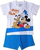 Disney Micky Maus Zweiteiler / Schlafanzug / Shirt und Shorty - Mickey und Pluto - Fans - Weiß/Blau