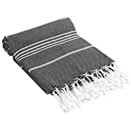 """Cacala Turkish Bath Large Luxury Beach Highly Absorbent Quick and Easy Dry Soft and Comfortable Shower Towels for Bathroom, Spa, Pool 100% Organic Cotton Pure Series, 37"""" x 70"""", Black"""