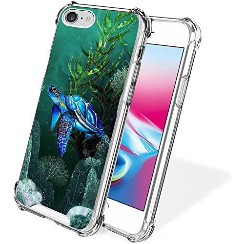 UZEUZA Funda para iPhone 7/8/SE2 transparente parachoques cubierta antiarañazos bordes transparentes con tortugas marinas
