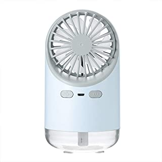 Portable Air Cooler Fan Mist Humidifier, 3 in 1 USB Water Spray Cooling Fan 3 Modes Wind & LED Warm Light, Cool Mist Quiet...